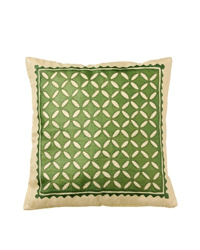 Mela Artisans Harmony in Jade Silk Cushion Cover, Green