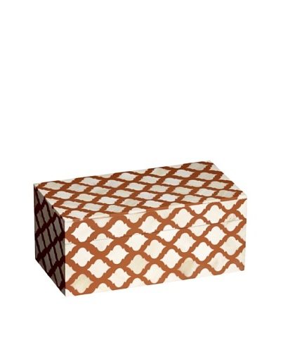 Mela Artisans Inlaid Bone Lattice Trinket Box, Terra Cotta