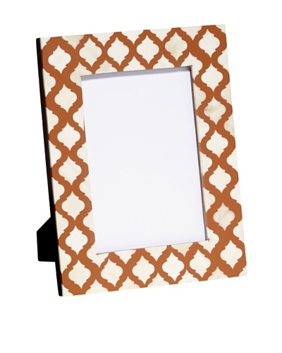 Mela Artisans Inlaid Bone Lattice Photo Frame, Terra Cotta, 5 x 7