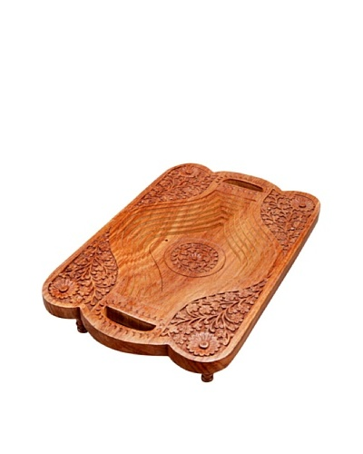 Mela Artisans Hand Carved Sheesham Wood Nobility Tray