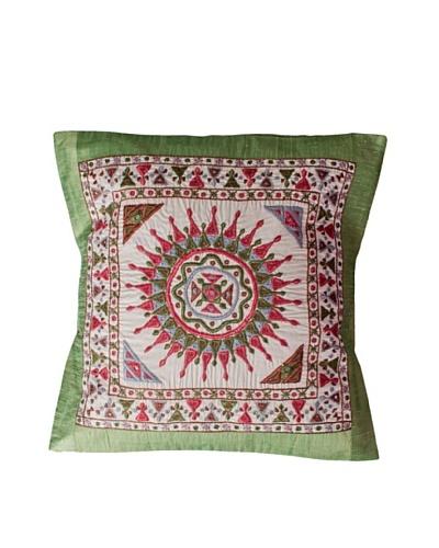 Mela Artisans Surya Silk Embellished Cushion Cover, Pale Green