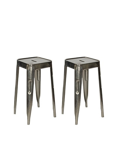 Melange Home Set of 2 Vintage Painted Stools, Aluminum, Short