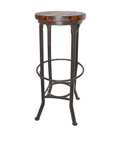 Melange Home Industrial Round Bar Stool, Brown