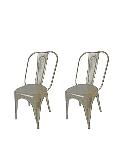Melange Home Set of 2 Vintage Painted Chairs, Aluminum