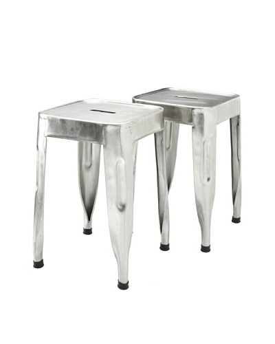 Melange Home Set of 2 Aluminum Stools, Silver