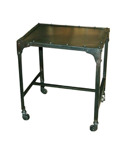Melange Home Industrial Side Table with Wheels