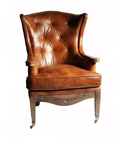 Melange Home Sterling Top Grain Leather Armchair, Whiskey Brown