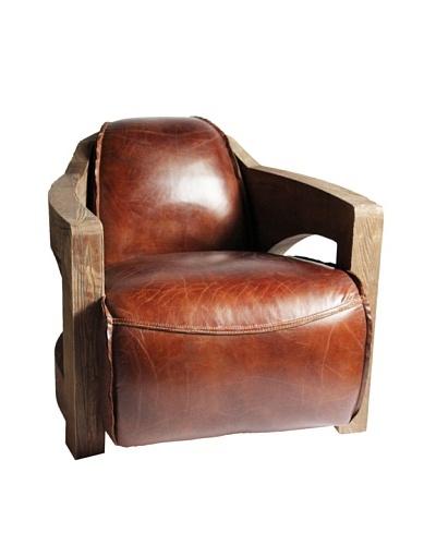 Melange Home Livingston Top-Grain Leather Armchair, Vintage Cigar