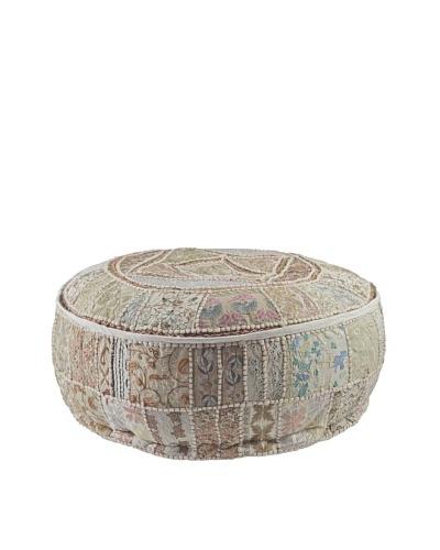 Melange Home Round Pouf, Cream Sari