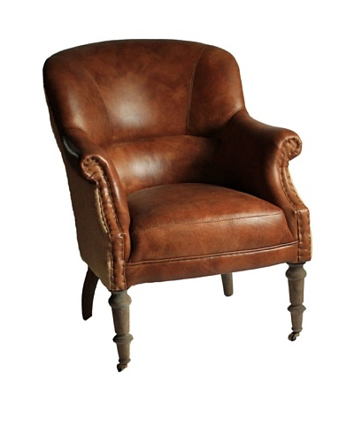 Melange Home Edinburgh Top-Grain Leather Armchair, Whiskey Brown