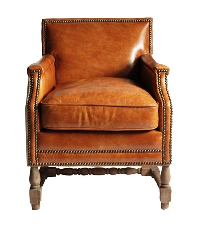 Melange Home Glasgow Top-Grain Leather Armchair, Palomino Brown