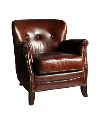 Melange Home Aberdeen Top-Grain Leather Armchair, Vintage Cigar