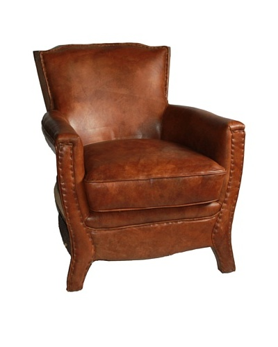 Melange Home Sanderling Top-Grain Leather Armchair, Whiskey Brown