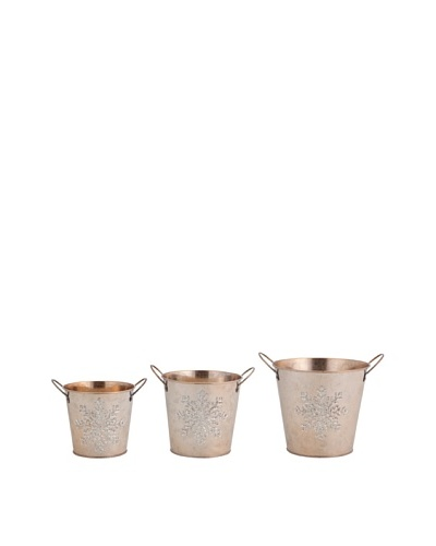Melrose Set of 3 Assorted Buckets With Etched Snowflakes