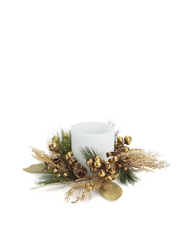 Melrose Pine Cone, Berries & Ribbon Candle Ring