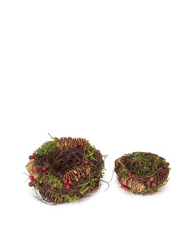 Melrose Set of 2 Nests with Moss, Pine Cones & Berries