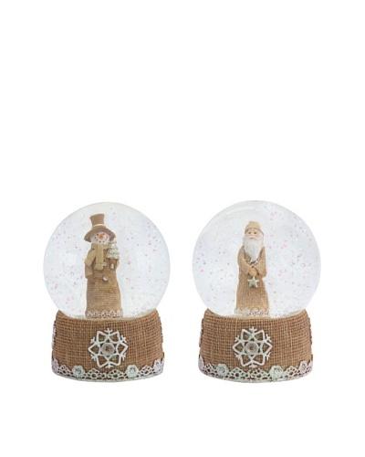 Melrose Set of 2 Burlap Look Snowman & Santa Snow Globes