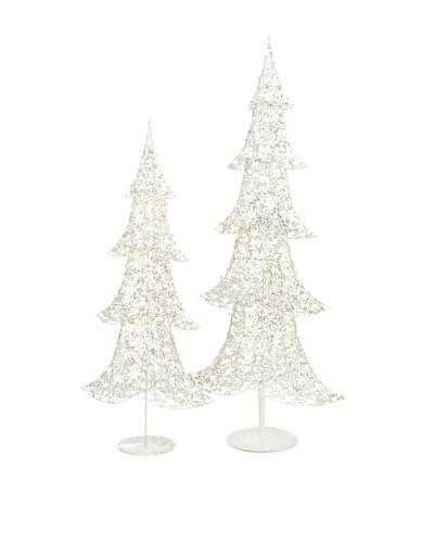 Melrose Set of 2 Light-Up Glitter Trees, Silver