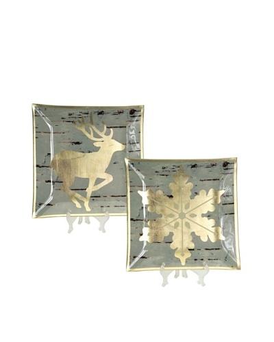 Melrose Set of 2 Deer & Snowflake Glass Birch Plates