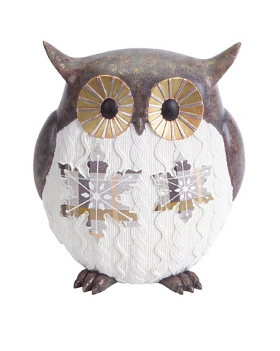 Melrose Knit Finish Owl Decor With Snowflake