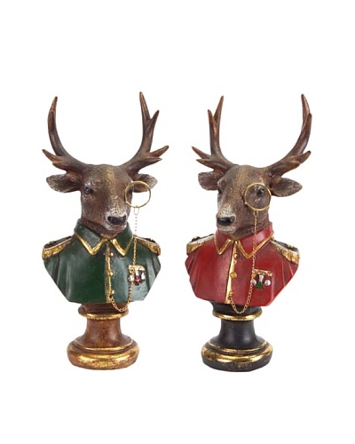 Melrose Set of 2 Deer With Monocle Busts