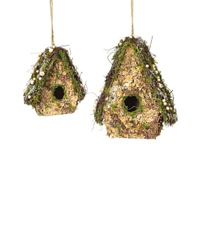 Melrose Set of 2 Iced Birdhouse with Moss, Pine Cones & Berries