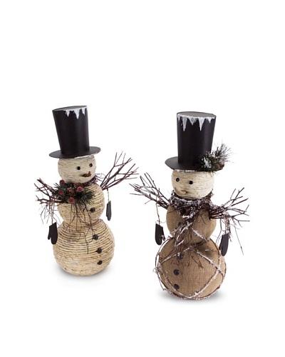 Melrose Set of 2 Woven Snowmen Figurines