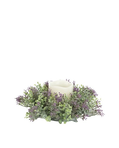 Melrose International Candle Wreath with Bed of Lavender Flowers and Eucalyptus Leaves