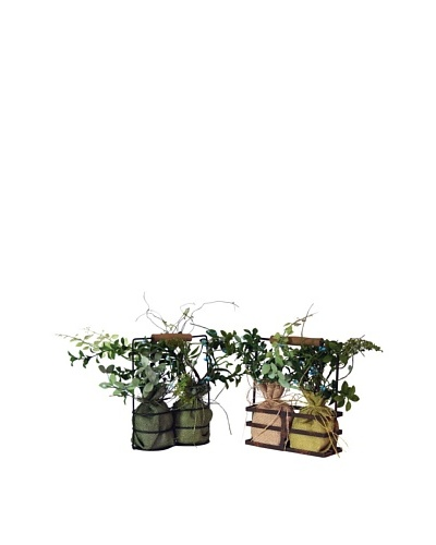 Melrose International Set of 2 Artificial Herb Gardens
