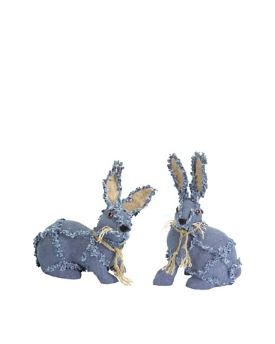 Melrose International Set of 2 Denim Bunnies