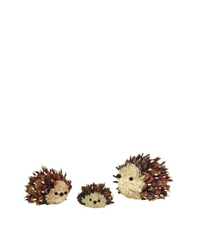 Melrose International Hedgehog Family with Pine Cone Scales and Twigs