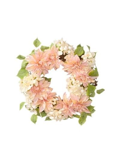 Melrose International Dahlia and Hydrangea Silk Floral Wreath