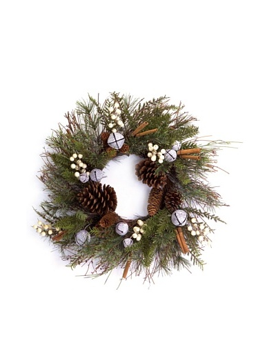 "24"" Jingle Bell Pine Wreath"