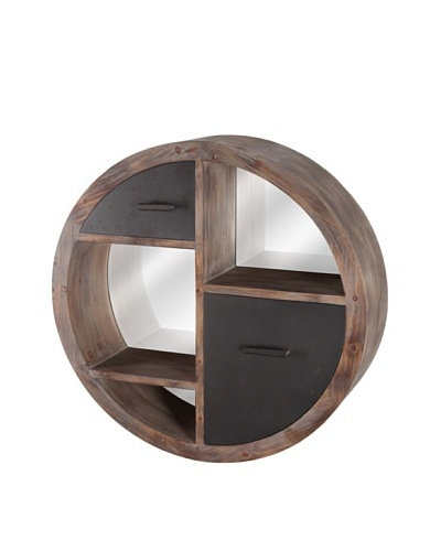 Mercana Durham Mirror Cubby, Brown/Grey