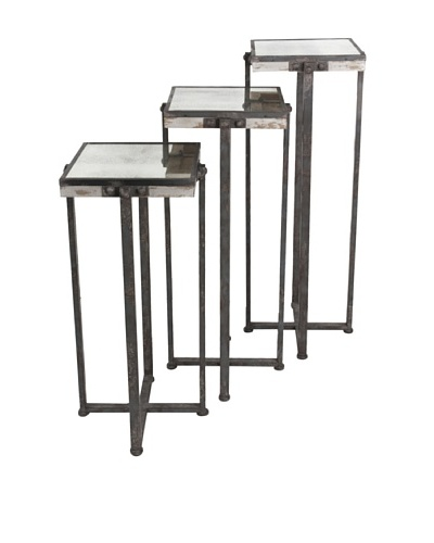 Mercana Marshalls Set of 3 Nesting Tables, Mirror/Antique
