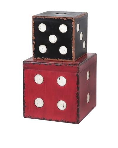 Mercana Playdel Set of 2 Storage Trunks, Red/Black/White