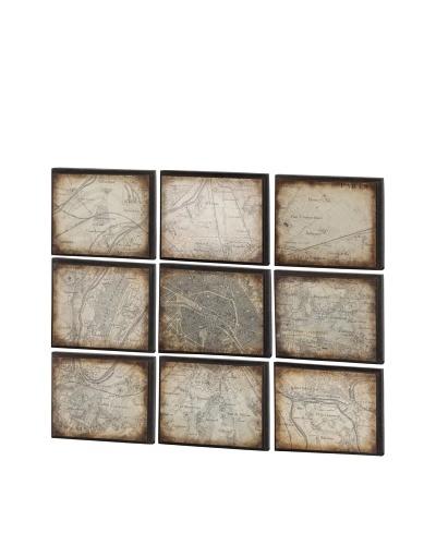 Schema 9 pc Wall Decor, Brown/Sepia, 16 x 2 x 13