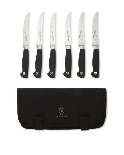 Mercer Cutlery Genesis 7-Piece Forged Steak Knife Set [Steel/Black]