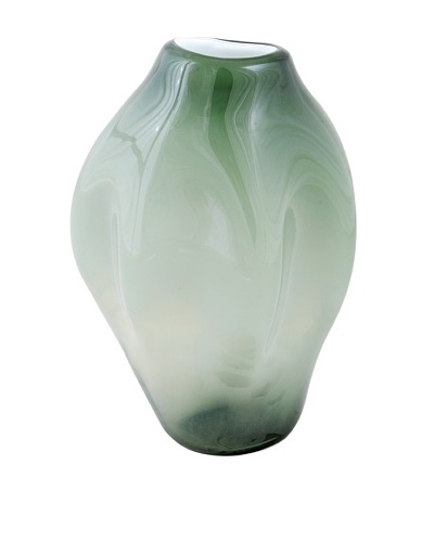 Meridian Glass Tall Abstract Hand-Blown Vase, Moss