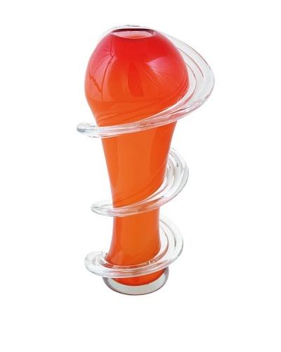 Meridian Glass Tall Spiral Hand-Blown Vase, Red/Orange