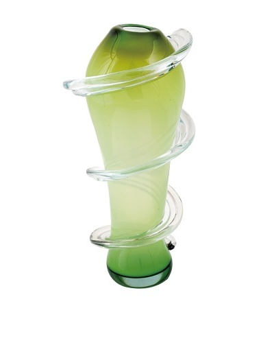 Meridian Glass Tall Spiral Hand-Blown Vase, Green
