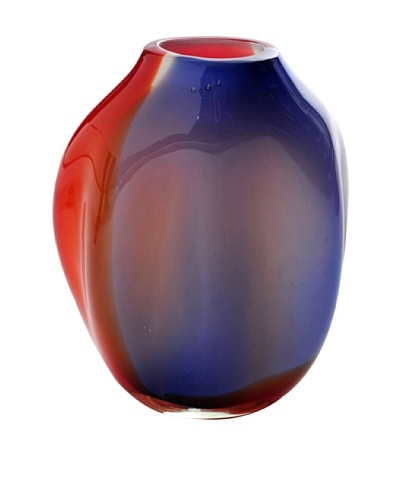 Meridian Glass Short Abstract Hand-Blown Vase, Cobalt/Orange