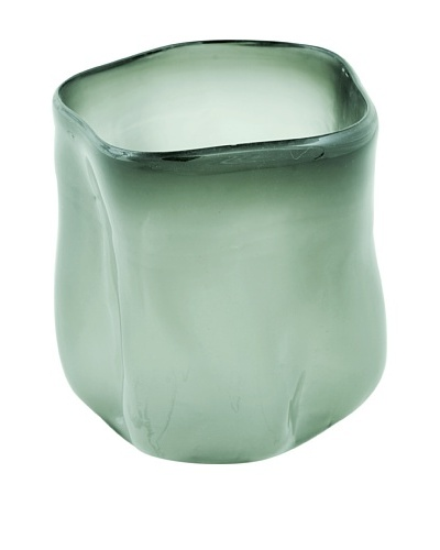 Meridian Glass Abstract Hand-Blown Vase with Round Bottom, Moss