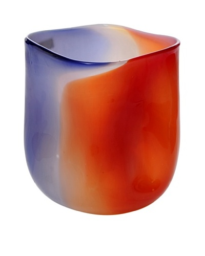 Meridian Glass Abstract Hand-Blown Vase with Round Bottom, Cobalt/Orange