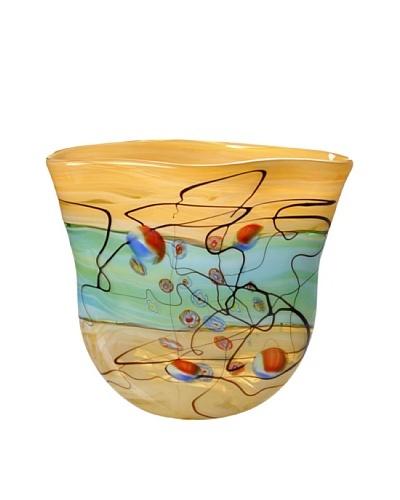 Meridian Glass Ruffle Top Hand-Blown Vase