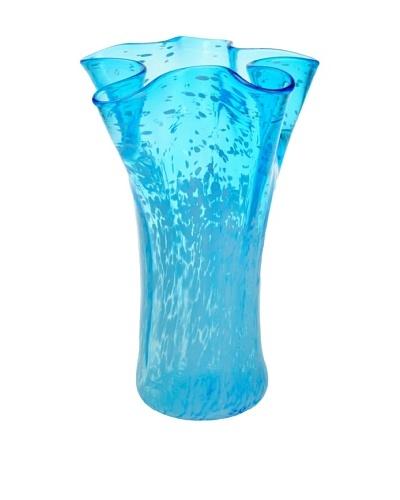 Meridian Glass Hand-Blown Flower Vase, Aqua/White