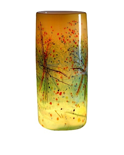 Meridian Glass Autumn Harvest Illuminated Vase, Amber/Green