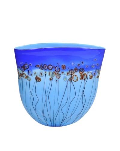 Meridian Glass Dotted Hand-Blown Glass Vase, Aqua/Cobalt