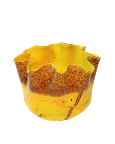Meridian Glass Hand-Blown Ruffle Vase, Yellow/Multi
