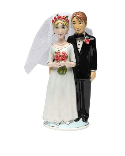 Merry Me by Babs Bride & Groom Ceramic Cake Topper